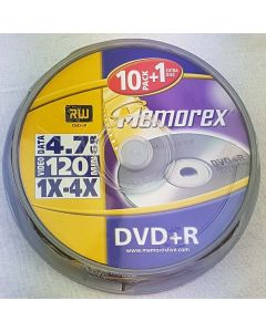 Memorex DVD+R 4,7GB Rohlinge, 4x, 120 Min, Cakebox, 10+1 Extra Disc